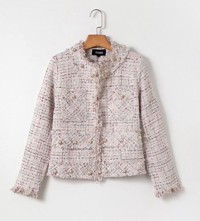 Tweed Hiver Beige Classique Office Automne Vintage De Manteau Haute Chan 2018 Élégant Lady Haut Gland Veste Gamme Perle Couture 5qtf4