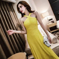 Women Long Sleeveless Lace Slim Firm Offers Socialite Tie Dress Dresses White Yellow Black 6192