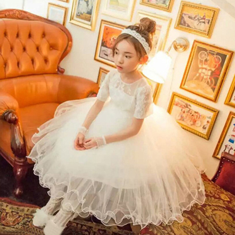 Summer Short Sleeve Princess Girls Lace Solid White Lovely Mesh Show Performance/Birthday Formal Dress with Wristband Headwear