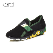 CZRBT Loafers Women Genuine Leather Casual Shoes Plus Size Spring Autumn Driving Flat Shoes Woman Black Round Toe Flats