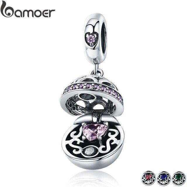 BAMOER Аутентичные 925 пробы серебро любовь Подарочная коробка болтающийся мяч Шарм Подвеска fit для женщин браслет и ожерелья для мужчин Jewelry SCC689