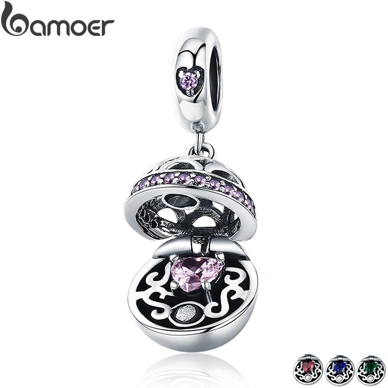 BAMOER auténtica Plata de Ley 925 amor caja de regalo pendientes bola colgante del encanto para las mujeres encanto pulsera de joyas de collares SCC689