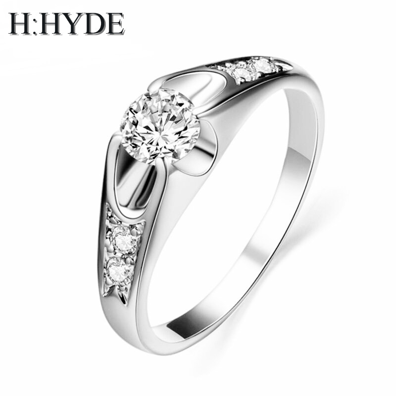 H:HYDE 0.5ct AAA Zircon Engagement Rings for women Rose gold color Wedding rings female anel Austrian Crystals Jewelry