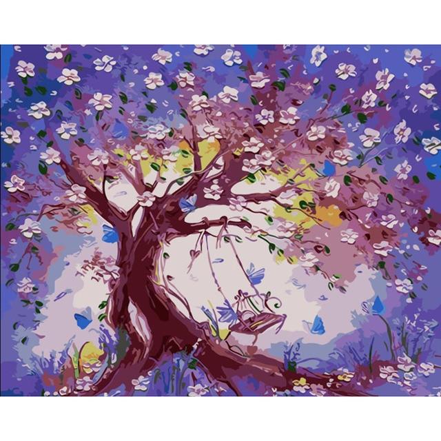 Bunga Pohon Ayunan Diy Painting By Numbers Kit Cat Pada Mewarnai