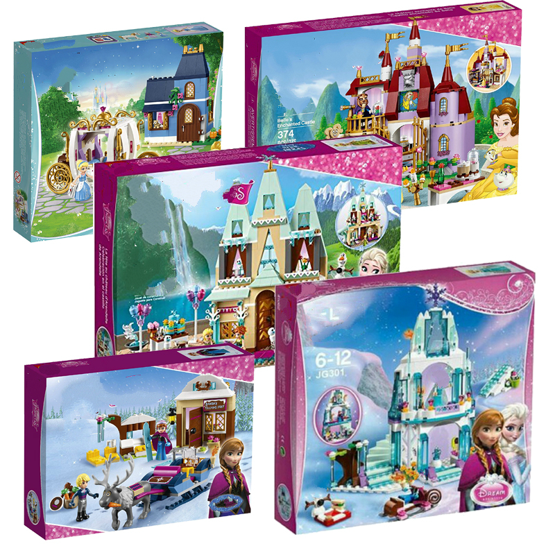 Princess Legoings Castle Building Blocks Snow Queen Elsa Anna Cinderella Ariel Figure Friends Bricks Toys Model for Kids Girls