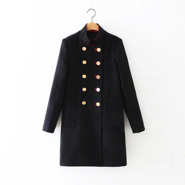 New Winter Female Black Coat with Golden Buttons Uniforms Woolen Jacket 736