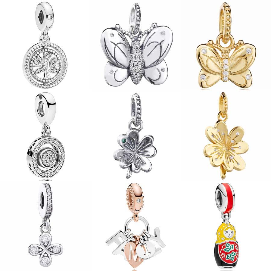 45cfeca9c Matryoshka Doll Spring Butterfly Clover Tree Of Life Family Pendant Charm  Fit Pandora Bracelet 925 Sterling