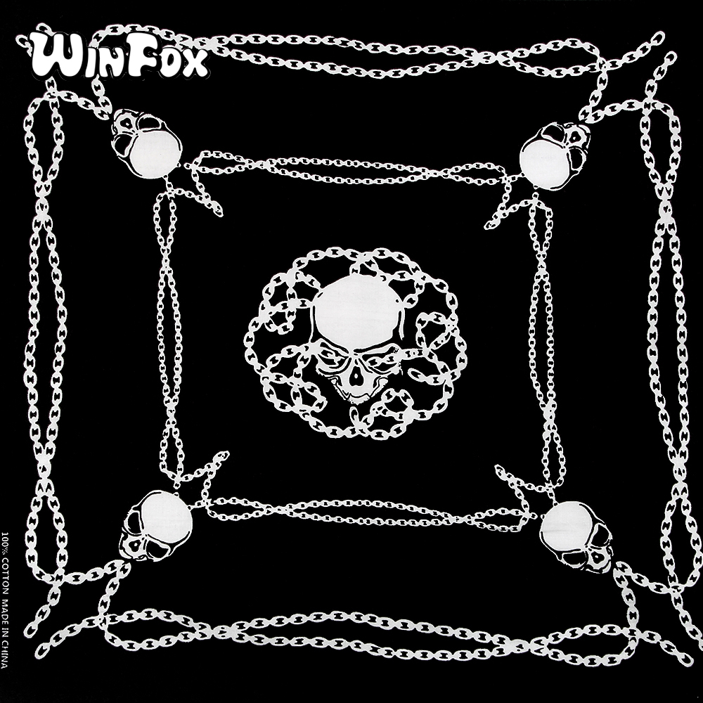 Winfox Fashion 55*55cm 100% Cotton Black Hip-Hop Punk Skull Chain Bandana Headband Neckerchief   Wrap     Scarf   For Men Women