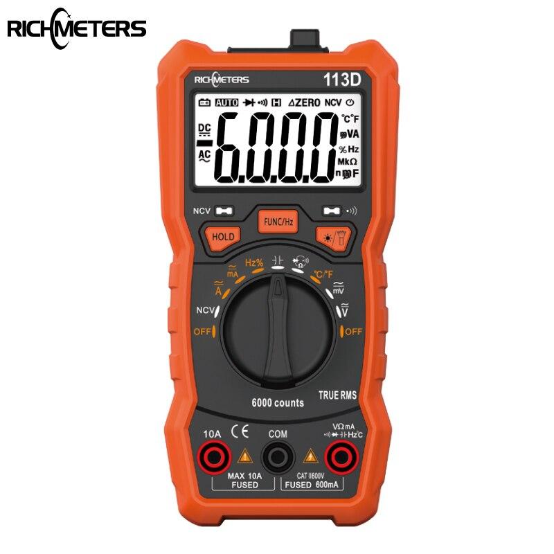 Multímetro Digital RM113D NCV de 6000 cuentas de rango automático medidor de voltaje de CA/CC Luz de Flash de la parte posterior de la pantalla grande 113A/D