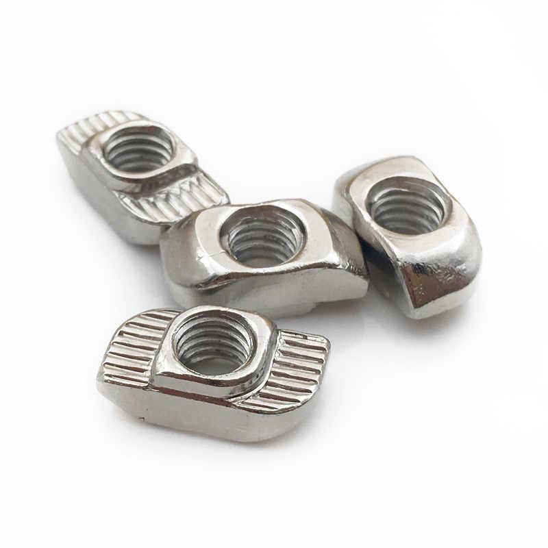 Porca de martelo m3 m4 m5 m6 m8, porca em formato de t, com conector fixo, para ue 2020 3030 4040 perfil de alumínio 4545
