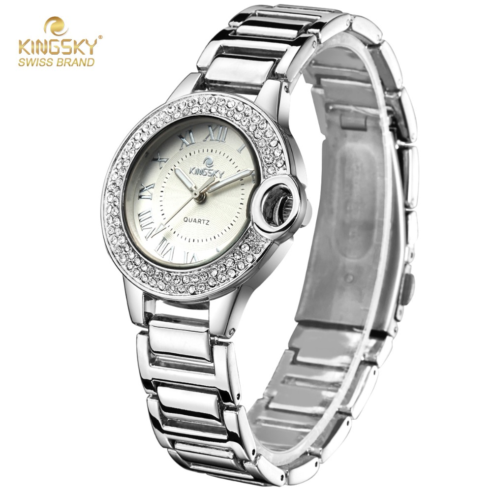 New Womens Watches Top Brand Kingsky Luxury Crystal Rhinestone Analog Quartz Wrist Watches For Women Fashion Ladies Dress Watch free shipping 15 touch screen all in one pos system cash register cashier pos machine