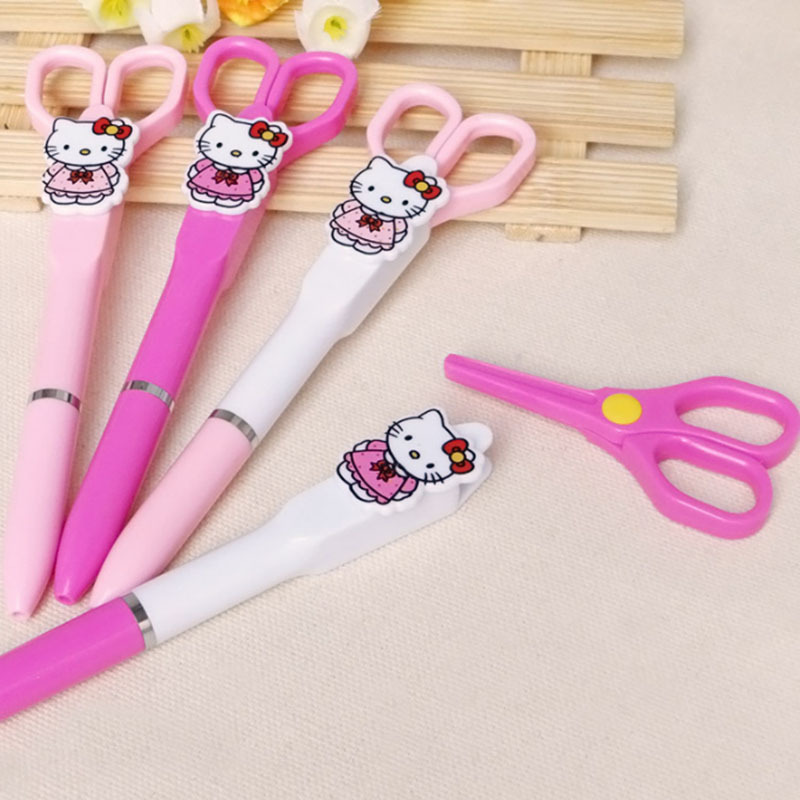 JOUDOO Kawaii DIY Hello Kitty Ballpoint Pen Paper Cutting Scissors Safe Kids Creative Stationery Office School Supplies ...