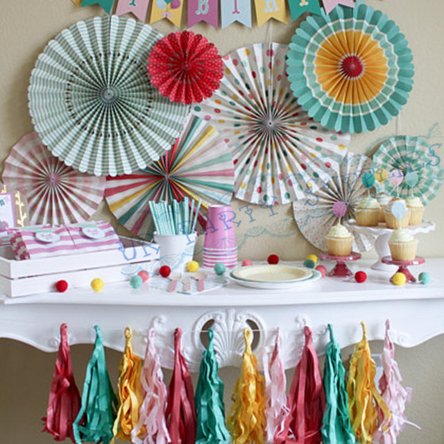 6 Sets (48pcs) Basics mint Coral Pinwheel Backdrop Paper Rosette Wall Covering Wedding Background : pinwheel paper plates - pezcame.com