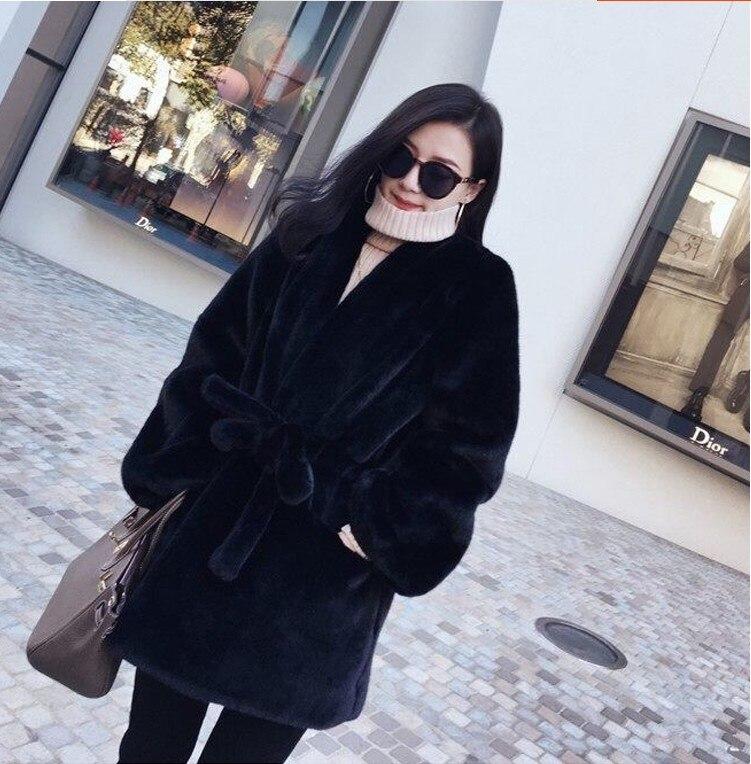 gris rose Mode Version De Manteau Noir Des Lâche Longue Tempérament Vison 2018 Section Coréenne D'hiver Femmes Fourrure Chaud Nouvelle Imitation UHpqxwnnO
