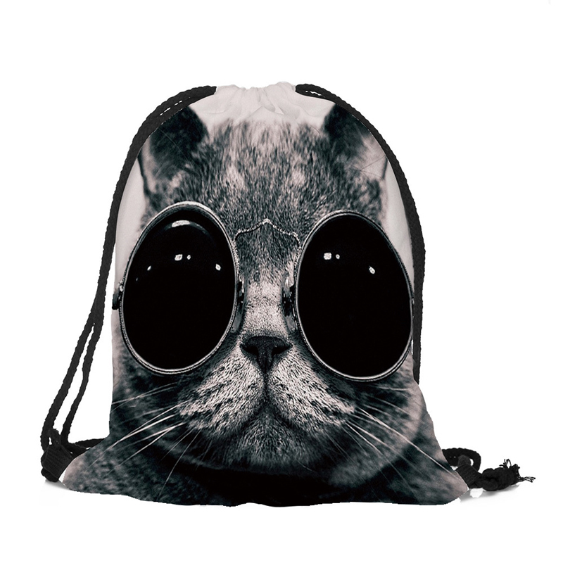20PCS / LOT Women Drawstring Bags 3D Cartoon Cat Printing Travel Backpack Portable Softback Pouch Travel Pouch Wholesale