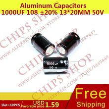 1LOT 10PCS Aluminum Capacitors 1000uF 108 20 13 20mm 50V 1000000nF 1000000000pF Diameter13mm
