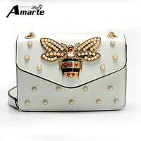 Women Brand Desinger Rhinestones Bee Leather Shoulder Bags 2017 Small Crossbody Bag With Chain For Girls