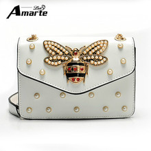 2017 Women Luxury Rhinestones Bee Evening Bag Mini Shoulder Bags Small Chain Crossbody Bag For Ladies Party Bags Bolsa Feminina