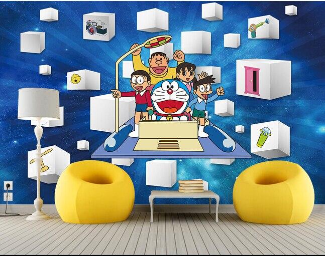 1282 52 De Descuentomurales 3d Personalizados Máquina De Tiempo De Gato De Dibujos Animados En 3 D Papel De Parede Sala De Estar Sofá Tv Pared