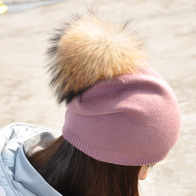Women Spring Wool Real Fur Pom Pom Hats Female Natural Raccoon Fur Beanie Hat Winter Cashmere Knitted Hat With Real Fur Pompom