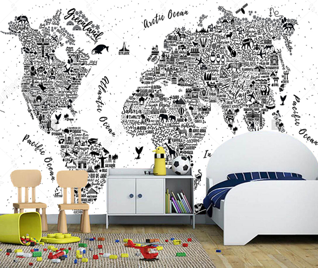Childrens wallcoveringstravel poster with cities and sightseeing childrens wallcoveringstravel poster with cities and sightseeing attractionsworld map for living room gumiabroncs Images
