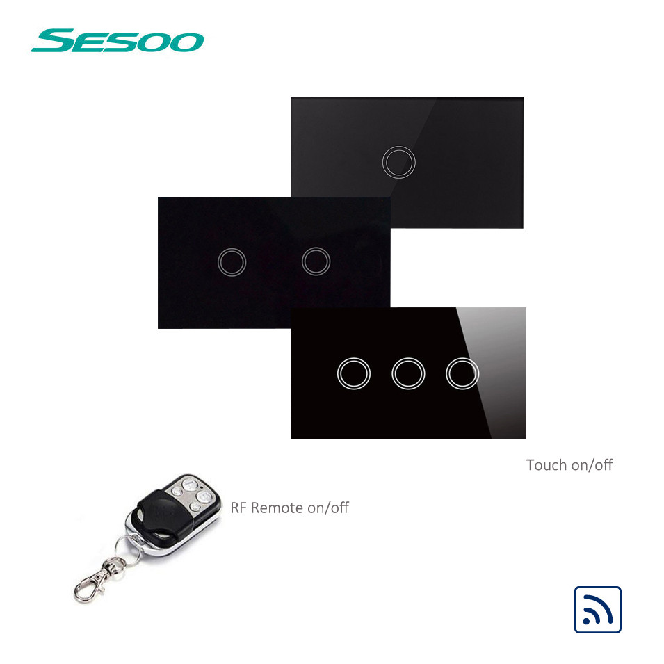 US Standard SESOO Remote Control Switch 1 2 3 Gang 1 Way, RF433 Smart Wall Switch, Wireless Remote Control Touch Light switch us standard remote control 3 gang 1 way touch panel rf 433 smart wall switch wireless remote control light switch for smart home