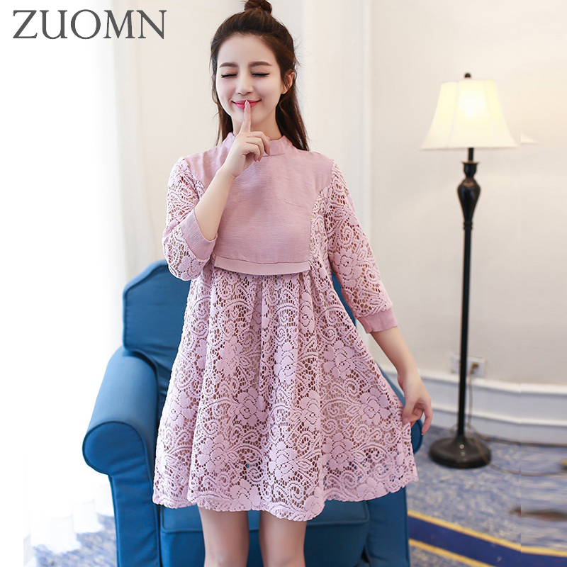 Maternity Dresses Maternity Gown Lace Long Sleeve Dresses Pregnancy Lace Party Dresses Women Party Summer Dress YL646