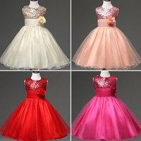 Đại Bên Giáng Sinh Wedding Cô Gái Không Tay Dress Thời Trang Sequin Đính Chúa Kids Dresses Giao Hàng Trong Vòng 24 Gi