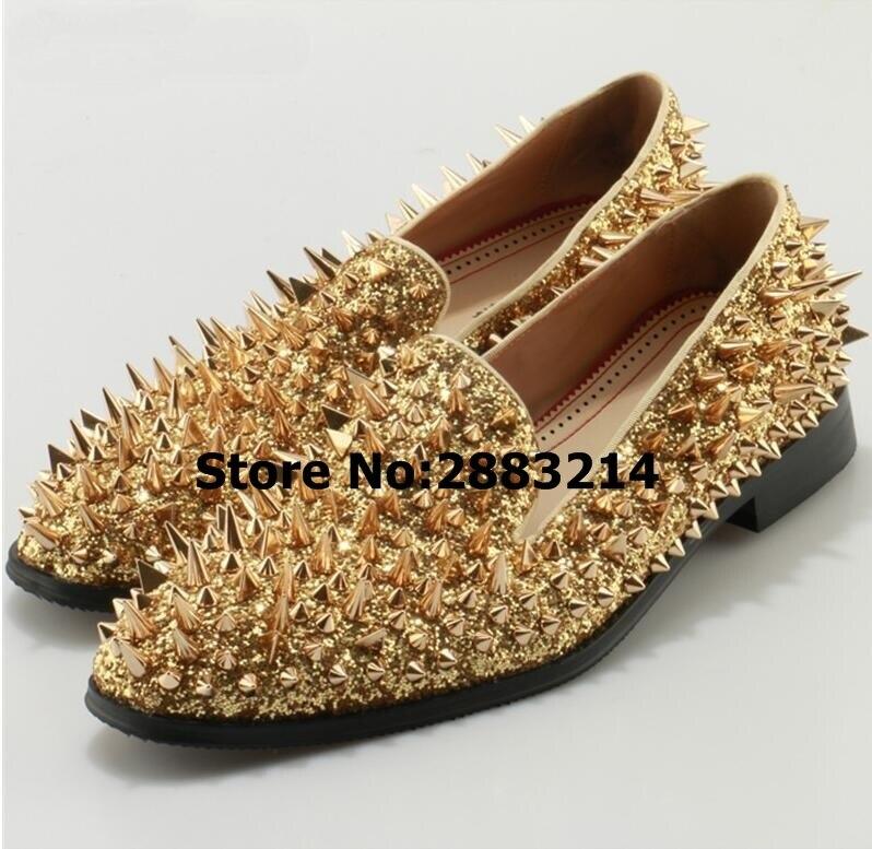 ทองคำขาวเงิน Spiked รองเท้าส้นสูงชายรองเท้าระยิบระยับเลื่อมรองเท้าหมุดโลหะผู้ชาย Oxfords รองเท้าหนังรอบนิ้วเท้า-ใน รองเท้าลำลองของผู้ชาย จาก รองเท้า บน   2