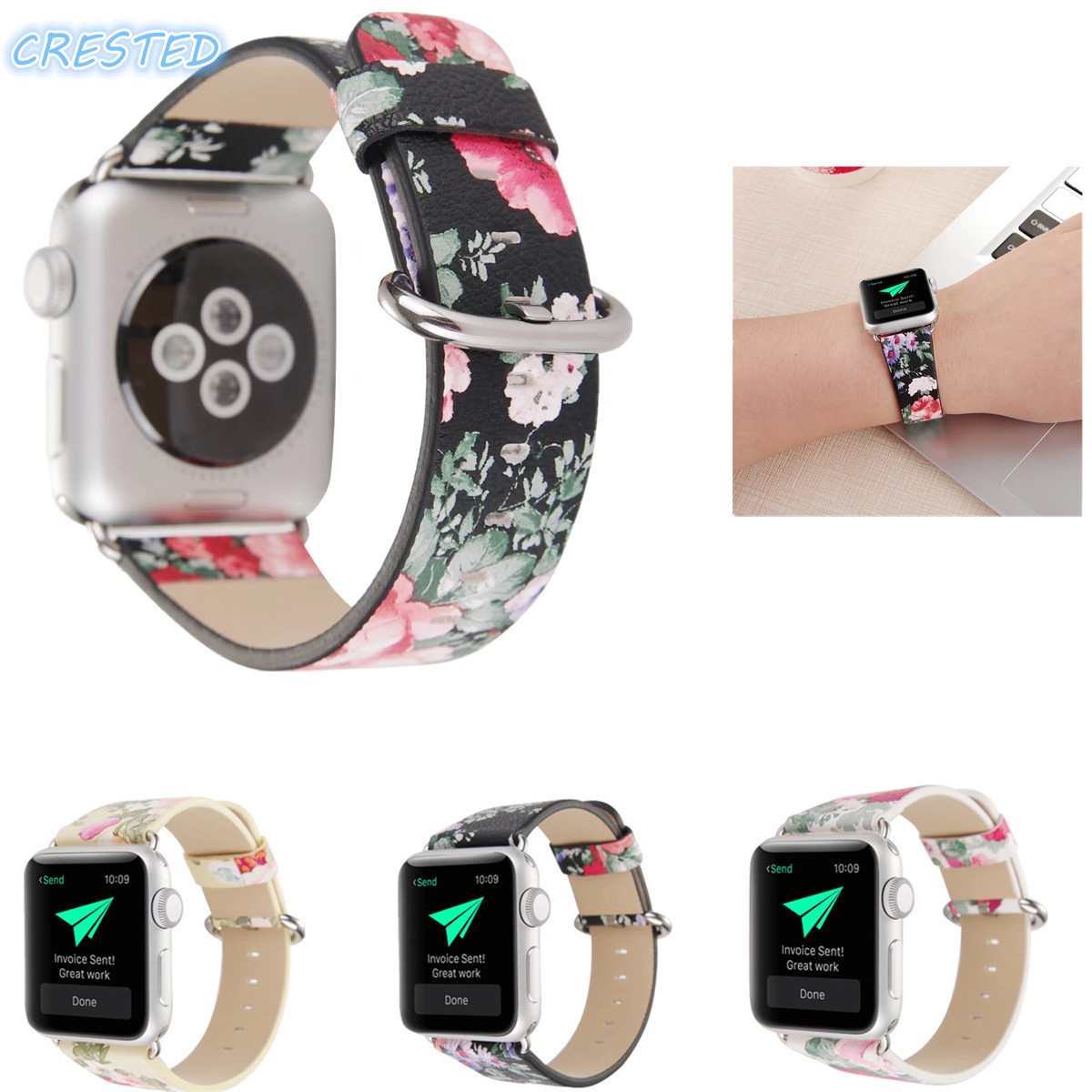 ERESTED Leather Watch Band for Apple Watch 42mm 38mm Wrist watchband Flower Design Bracelet strap for iwatch 3/2/1 watch belt nylon watchband adapters for iwatch apple watch 38mm 42mm zulu band fabric strap wrist belt bracelet black blue brown green