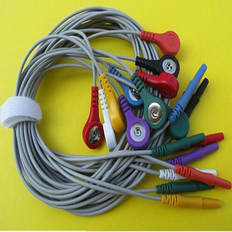 Livraison gratuite Holter câble 10 fils ECG fil de plomb, DIN dix fils de plomb, Din terminal 1.5 à 4.0 snap, norme AHA pour Holter Machine