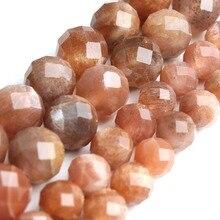 """Природные ограненные Sunstone неоправленные полудрагоценные камни для изготовления ювелирных изделий круглый свободные материалу Sun Stone драгоценный камень браслет """"сделай сам"""" Цепочки и ожерелья 6/8 мм 7,5 ''оптом"""