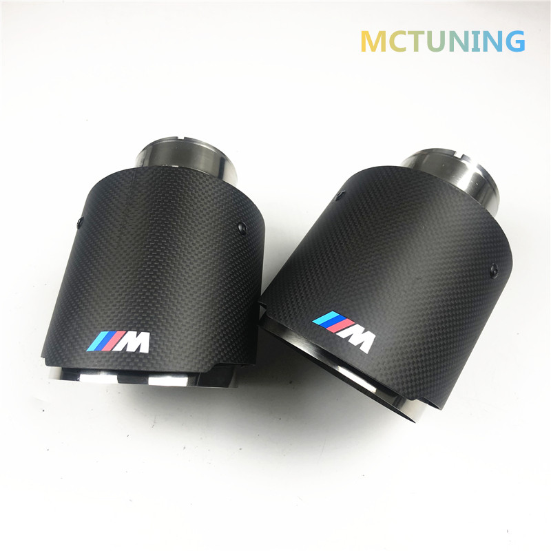 1 Piece M Performance Akrapovic Mat Carbon Fiber + Glossy Stainless Steel For Car Carbon Exhaust Tips Tail Pipes