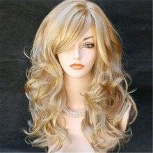 Жаропрочного вьющимися блондинки синтетического натуральных ombre длинными косплей парик sexy парики