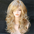 Moda Sexy mulheres perucas de cabelo natural ombre perucas sintéticas resistentes ao calor de alta qualidade peruca curly longo 70 cm peruca loira cosplay