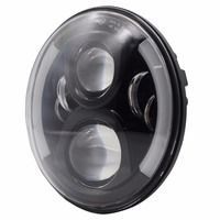 Pair For 7 Inch Round Headlight 12v 24v Dc High Low Beam And Angel Eye Led