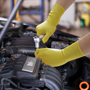 Image 4 - Нитриловые перчатки, водостойкие, масляные, желто зеленые, нитриловые, с алмазным узором