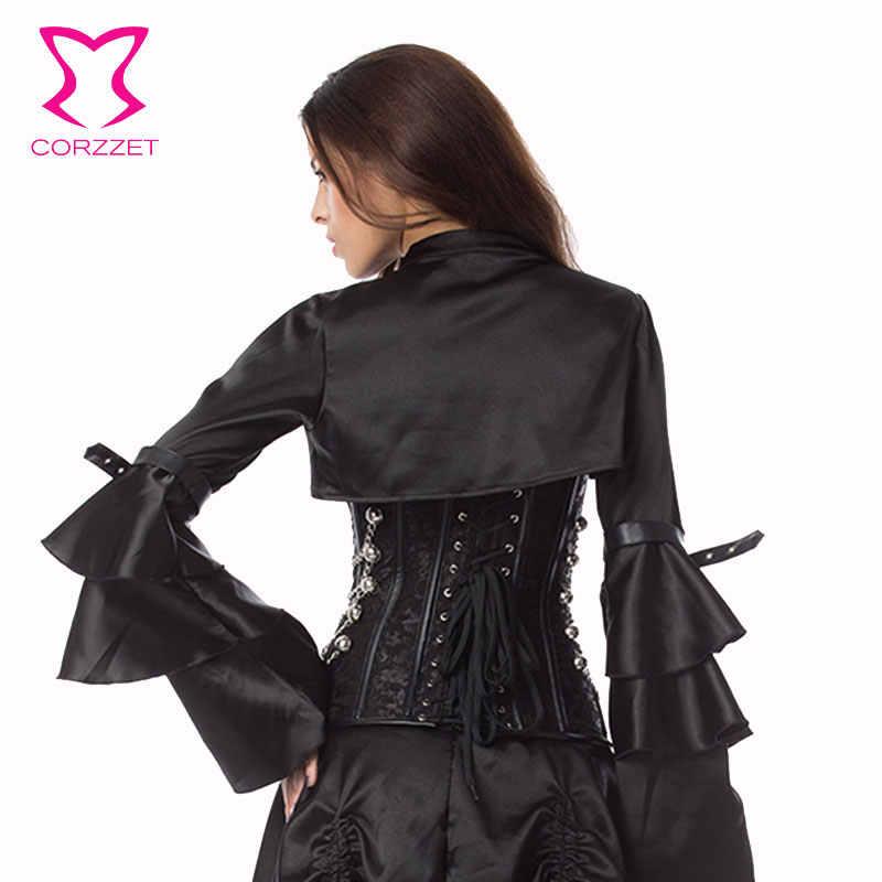 Corzzet черный парча стимпанк корсет панцири талии для похудения сталь костей Бюстье Топ Бурлеск Хэллоуин Overbust куртка