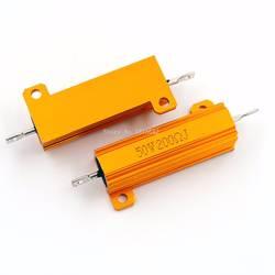 RX24 50 Вт 200R 200RJ металлический корпус алюминиевый Высокая Мощность резистора золотой металлический корпус Корпус радиатора сопротивление