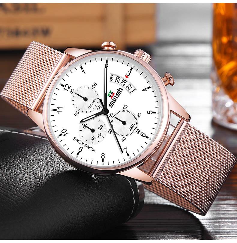 Golden Chronograph Watch - MiraShop