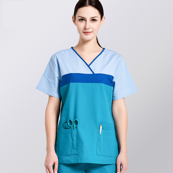 Hit Color Design Surgical Suits Breathable Short Sleeved Medical Scrub Sets Doctors Nurses Uniforms Beauty Salon Work Overalls