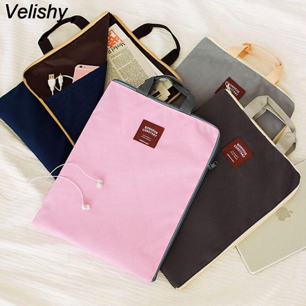 Velishy Bag Briefcases File-Folder-Bag Document-Organizer Canvas New A4 1PCS 4-Colors
