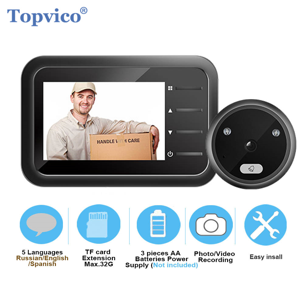 Topvico Peephole Doorbell Camera Video-eye Auto Photo Video Record Electronic Ring Night View Digital Door Viewer Home Security