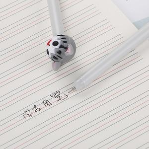 Image 4 - 40 шт. креативный мультяшный котенок нейтральная ручка милая головка из силикагеля Студенческая Водонепроницаемая офисная канцелярская черная игла ручка