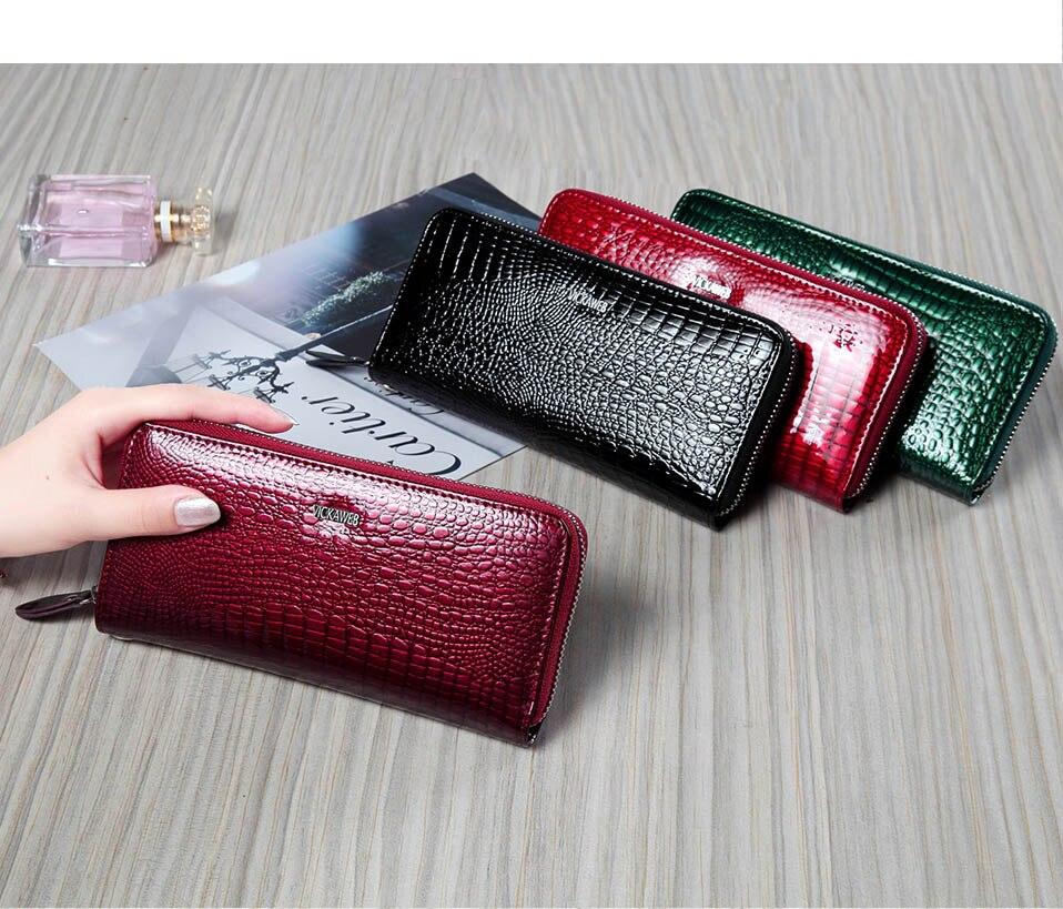VICKAWEB Wristlet Wallet Purse Genuine Leather Wallet Female Long Zipper Women Wallets Card Holder Clutch Ladies Wallets AE38-005