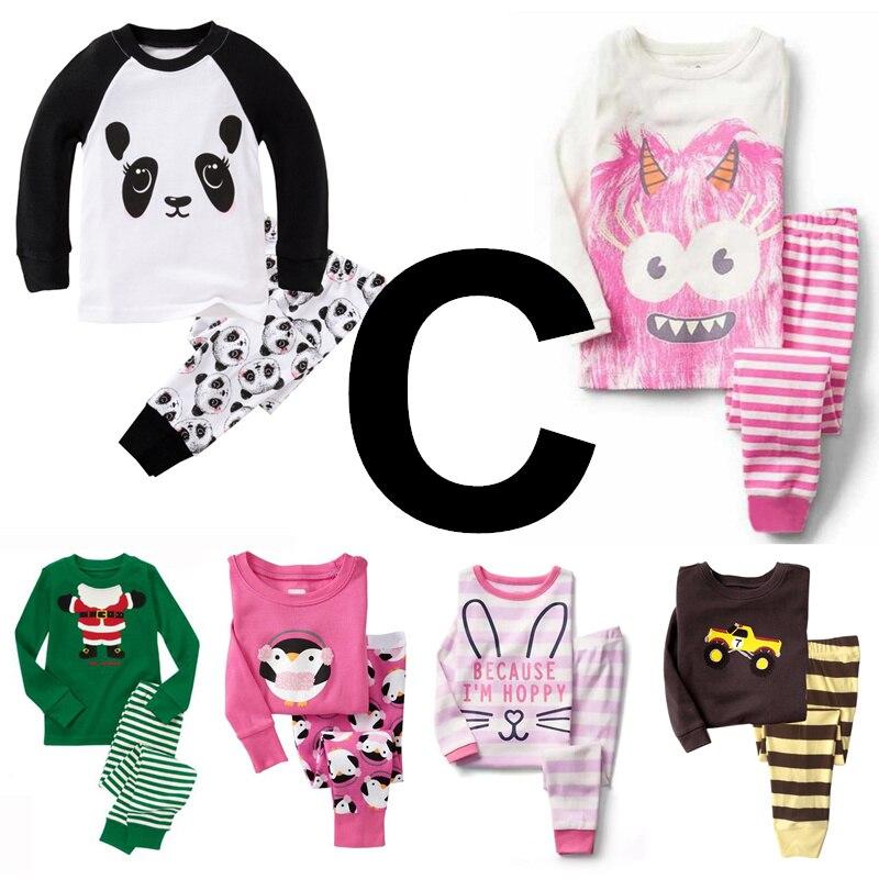 TT C group 6sets lot Children boys girls pajamas 100 cotton Rib long sleeve sleepwear clothing
