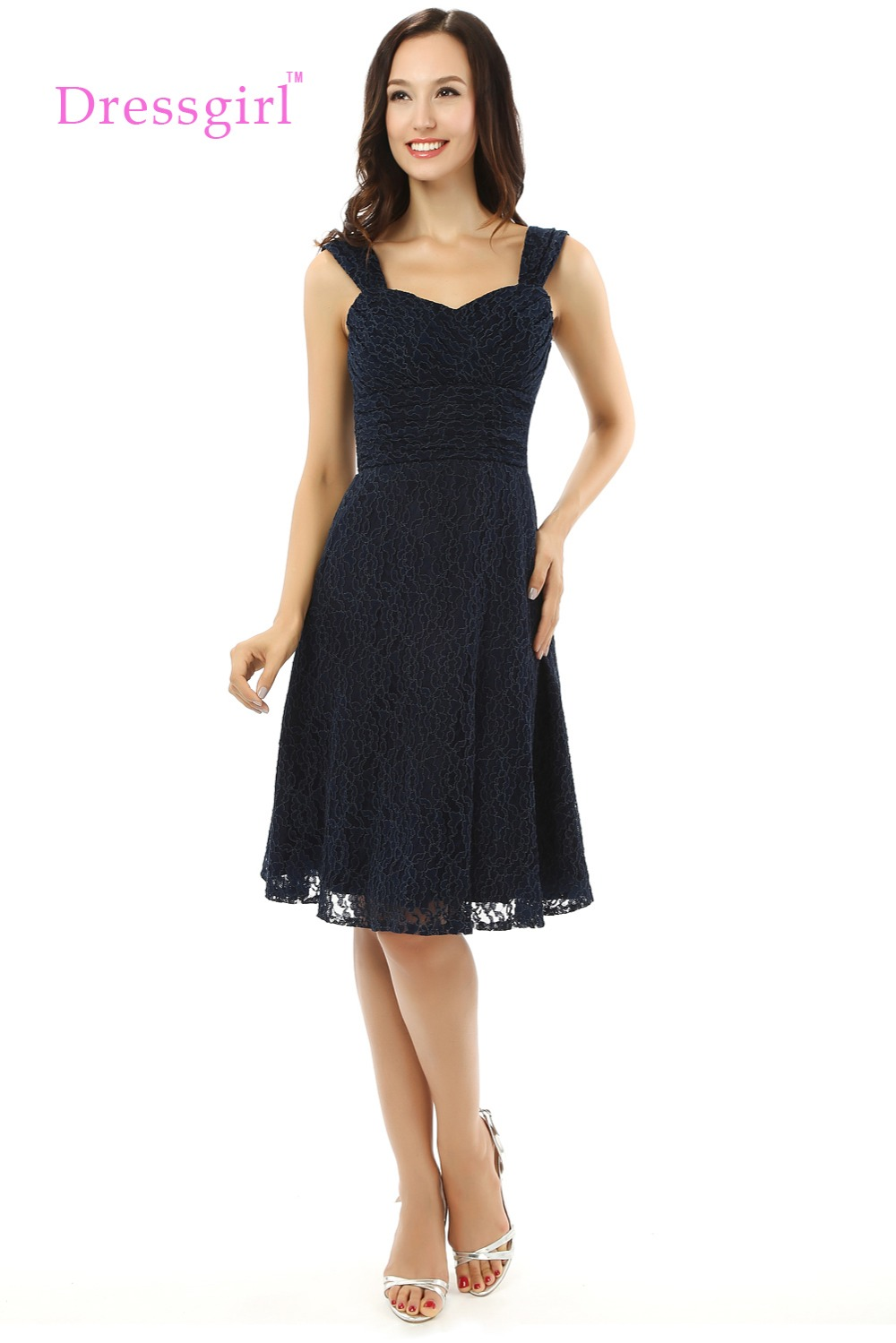 Black dress under knee - Dressgirl 2017 Cheap Bridesmaid Dresses Under 50 A Line Sweetheart Knee Length Navy Blue Lace