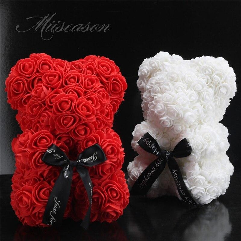 2019 heißer Verkauf 25 cm Seife Schaum Bär Rosen Teddi Bär Rose Blume Künstliche Neue Jahr Hochzeit Geschenke Frauen Valentines weihnachten Geschenk