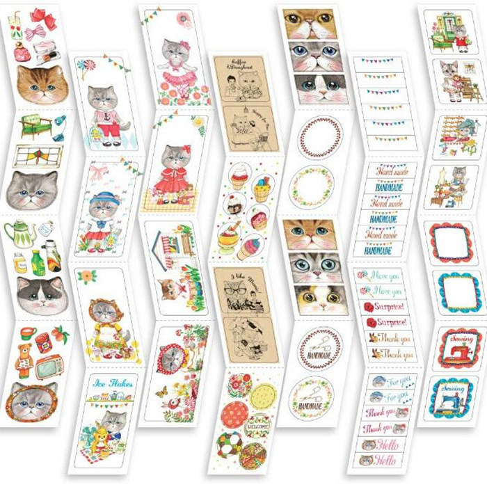 1 Set UNCLE CAT Vintage Deco Pack-20 Bookmarks&10 mini Card &70 Kawaii Stickers Korean Cute Stationery Stickers