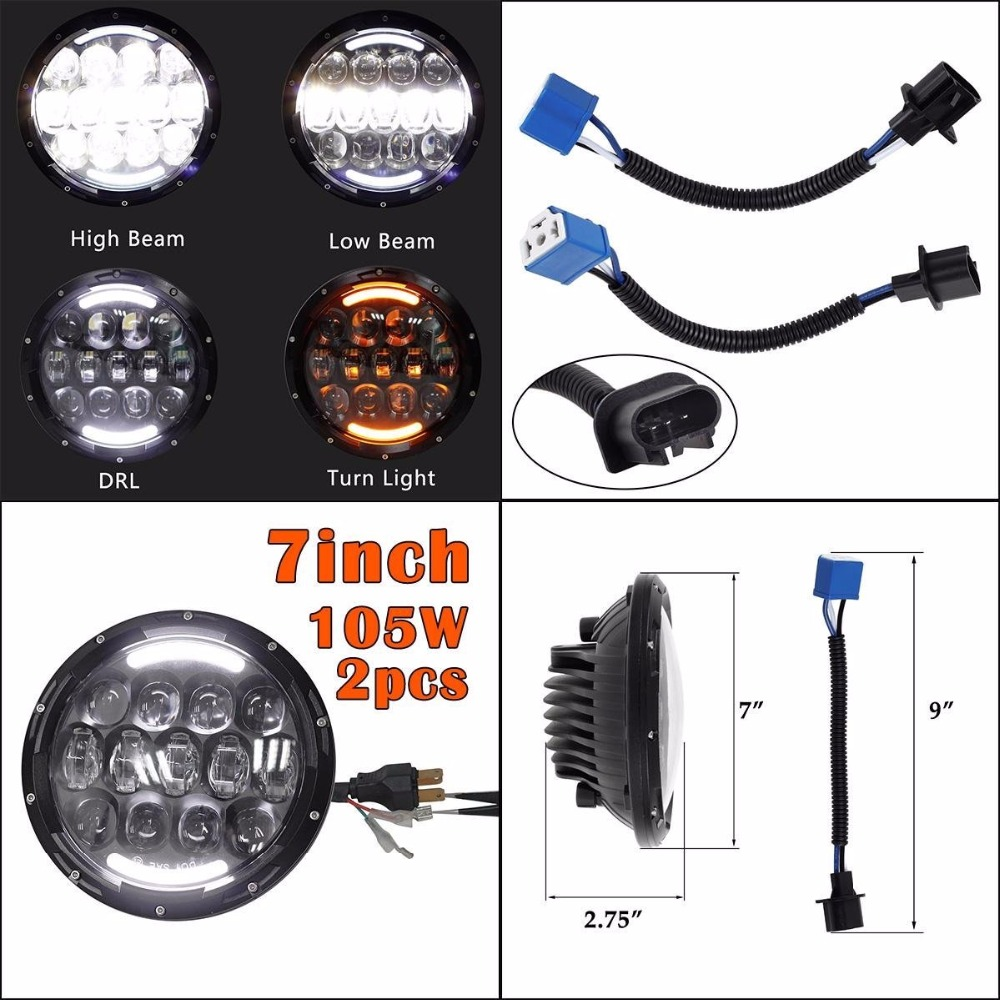 7 Inch Led Rgb Headlight Round Drl Headlamp Flashing Angel 1972 Jeep Truck Wiring Dot Sae E9 Headlights For Chevy 1947 1957 1962